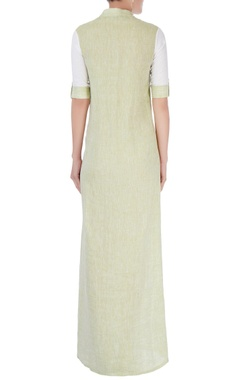 White & green embroidered maxi dress