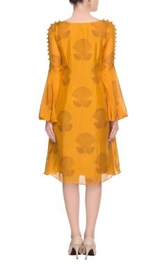 Mustard yellow printed dress