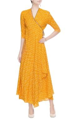 Orange maxi wrap style dress