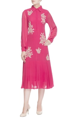 Pink embroidered shirt dress