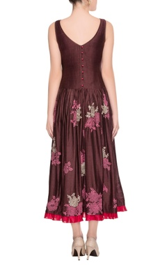 Coffee brown embroidered dress