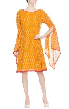 Orange split sleeve dress