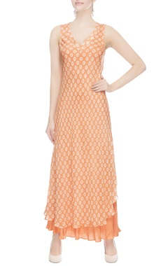 Peach double layer dress