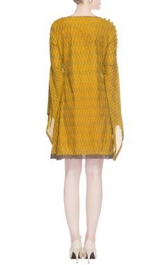 Mustard yellow ikat dress