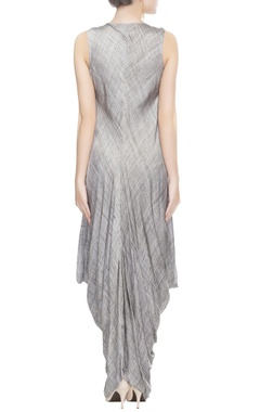 Grey & black drape dress