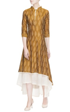 Brown ikat print dress