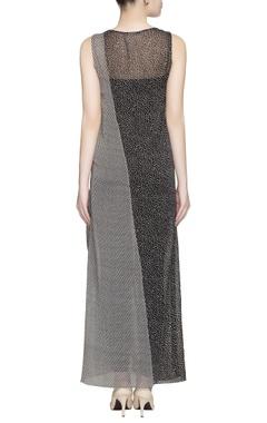 Black & white printed sheer maxi dress