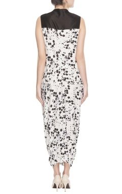 Black & white printed dhoti dress