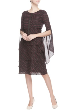 Black ikat printed dress