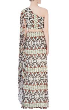 Multi-colored printed drape gown
