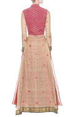 red & brown kurta lehenga