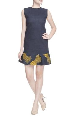 Dark denim blue pineapple dress