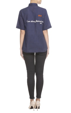 Navy blue text embroidered shirt
