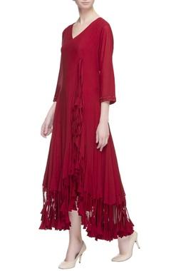 red wrap style midi dress