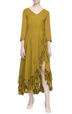 ochre yellow wrap style dress