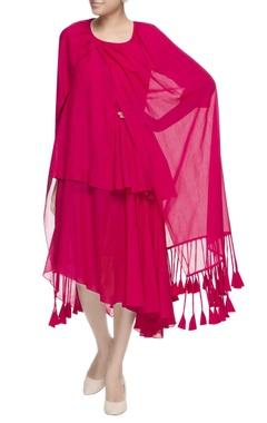 pink tiered drape dress