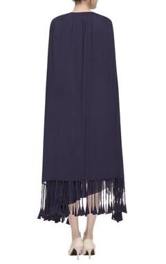 blue tiered drape dress