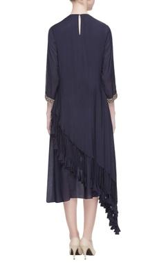 navy blue layered tassel dress
