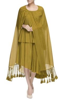 olive green tassel accent dress
