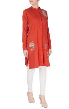 Red applique embroidery kurta