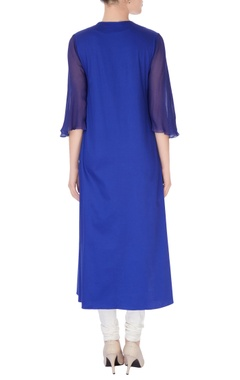 Electric blue kurta with bead studs