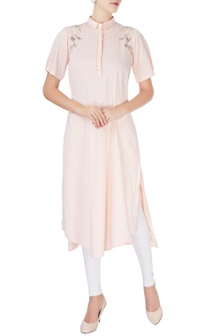 Light peach high collar kurta