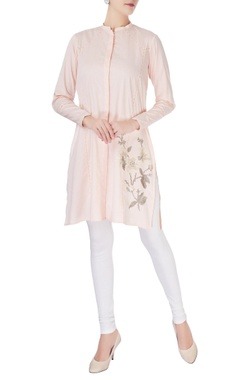 Peach mandarin collar short kurta