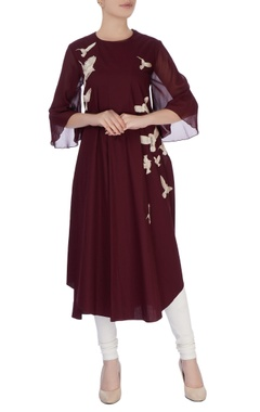 burgundy applique embroidered kurta with flared sleeves