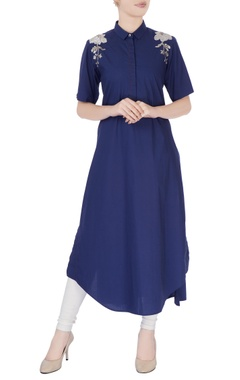 Navy blue long kurta