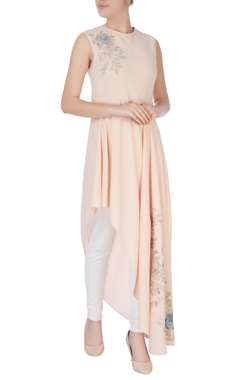 Light peach one-side asymmetric kurta