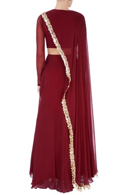 Burgundy lehenga with sequin drape