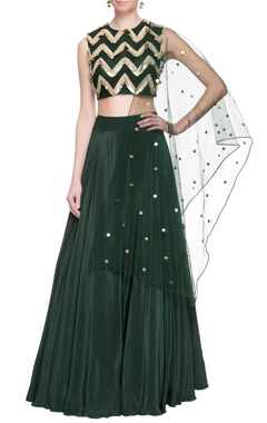 Green sequin embellished lehenga