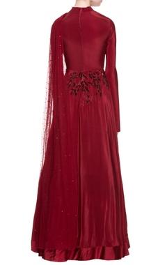 Maroon crepe silk gown