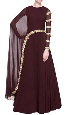 Bhumika Sharma Burgundy brown cutdana anarkali