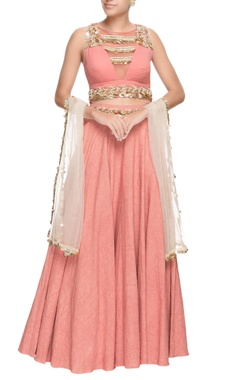 pink sequin embroidered lehenga