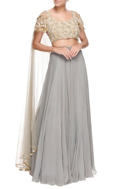 Grey lehenga & sequin embroidered blouse