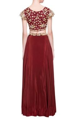 maroon cutdana lehenga & blouse