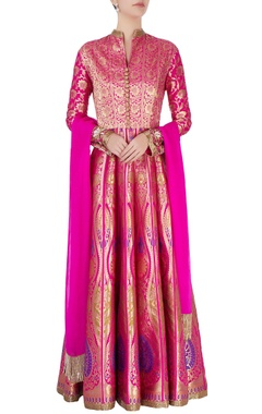 Pink anarkali with gold brocade pattern