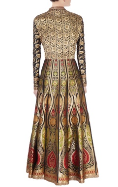 multicolored brocade anarkali & dupatta