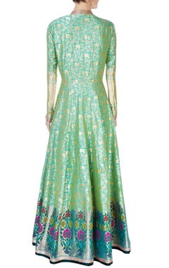 green & gold brocade anarkali