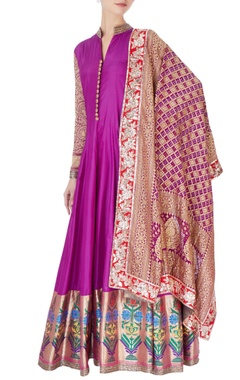 purple brocade anarkali & silk pants