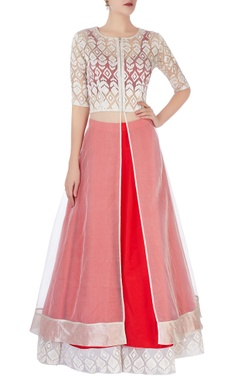 Dev R Nil Red lehenga with embroidered border