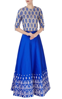 Blue embroidered flared lehenga