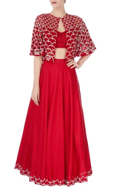Red lehenga with embroidered cape