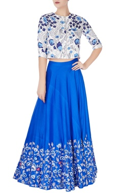 Blue lehenga in floral embroidery