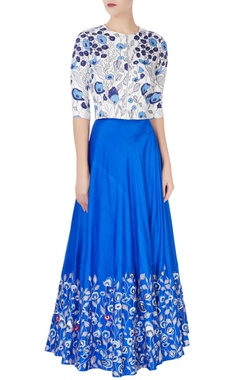 Blue floral embroidered top