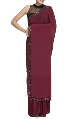 Dev R Nil Maroon sari with embellished borders