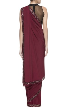 Maroon sari with embellished borders