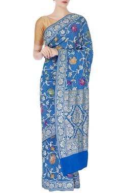 blue bandhani sari