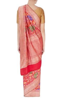 red bandhani sari